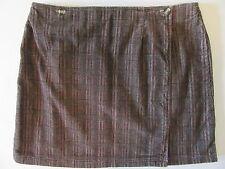 Ladies Corduroy Wrap Skirt 16 Brown Plaid Mini A-Line Skirt