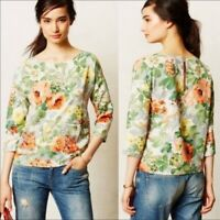 HD in Paris Anthropologie Bloomfield Floral Printed Pocket Top Blouse Size XS