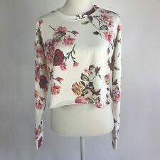 BP. Women's Floral Print Cropped Sweatshirt Ivory Large L NWT