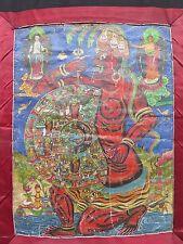 RARE VINTAGE DESIGN INDIA 'WHEEL OF LIFE' THANGKA BUDDHISM BUDDHA MEDITATION