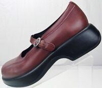 Dansko Mary Jane - Comfort Platform Leather Clogs Women's 37, 6.5/7 Burgundy