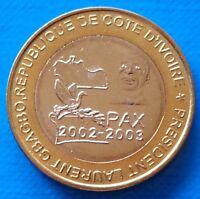 Ivory Coast 6000 CFA francs 2003 UNC 4 Africa PAX Gbagbo Elephant Bi-metallic
