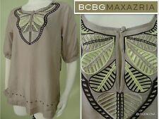 NWT BCBG MAXAZRIA Size S Cotton/Silk Half sleeve Embroidered BOHO blouse