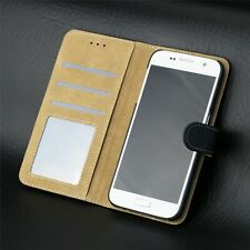 Black Leather Wallet Cover Flip Case For Samsung Galaxy S7
