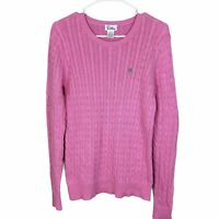 Lilly Pulitzer Cable Knit Sweater Size Large Pink Cotton Crew Neck Long Sleeve