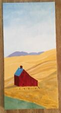 Barn Farm Prairie Hay Signed Original Acrylic Painting