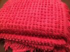 Vtg RED Popcorn Chenille Bedspread Twin 70X112 ~Lovely~ A