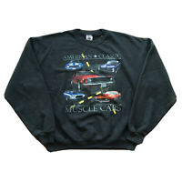 Vintage 90s Sweatshirt American Classic Muscle Cars Mens Large Pullover Black