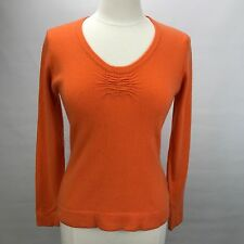 Pure Amici 100% Cashmere M Orange Scoop Neck Long Sleeve Thin Knit Sweater A4