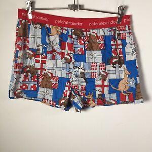 Peter Alexander mens pyjama sleep shorts size M cotton christmas print