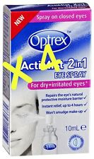 4 X Optrex ActiMist Eye Spray For Dry & Irratible Eyes 10ml