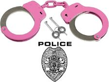 Handcuffs Pink Linked Double Lock Manganese Steel Handcuffs With Case 10887