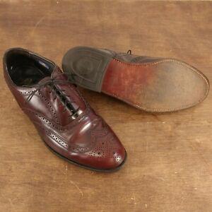 Oxford Wingtip FLORSHEIM 30353 Blucher Burgundy Leather Lace-Up Shoes Size 8.5 D