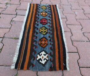 "Anatolian Flatweave Kilim Doormat Rug Cappadocia Ethnic Tribal Carpet 14""x30"""
