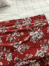 RED FLORAL LINED DEEP POCKETS  (PAIR) PANELS DRAPERY 41 X 84 EUC