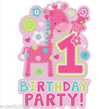 1st BIRTHDAY One Wild Girl INVITATIONS (8) ~ First Party Supplies Stationery