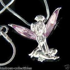 Purple w Swarovski Crystal ~Tinkerbell~ Fairy ANGEL Wings Charm Pendant Necklace