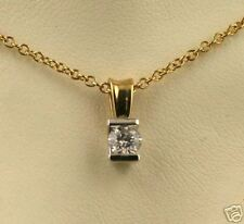 14kt Two-Tone Gold 1/3ct Round Diamond Channel Pendant