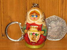 Russian doll HAND PAINTED key ring Poupee Russe SAMOVAR
