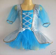 NEW Girls Ballet Sequins tutu Dance Costume - Blue S