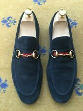 Gucci Mens Shoes Blue Suede Horsebit Loafer UK 7 US 8 41 Web Red