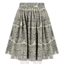 SWASH London Khaki Grey Filigree Shadow Bell Skirt XS UK6