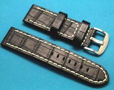 24mm Black/White HQ Crocodile Grain Leather Replacement Watch Band - U-Boat 24
