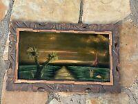 Vintage 1962s Velvet Painting of HAWAII ~ Hawaiian Island Maui Framed Signed