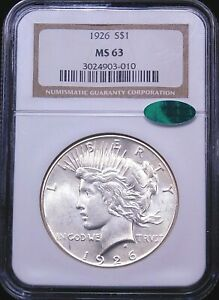 1926 Peace Silver Dollar NGC MS64 CAC Original White with Great Luster PQ #G408