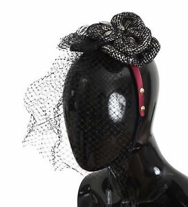 NEW $600 DOLCE & GABBANA Diadem Headband Tiara Black Floral Fascinator Hair Gold
