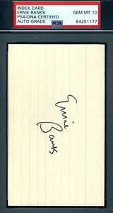 Ernie Banks Gem Mint 10 PSA DNA Coa Autograph Hand Signed 3x5 Index Card