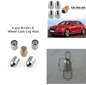 4 + 1 Auto 32mm Car Anti Theft Security Screw Wheel Lug Nut Lock w/ Key M12x1.5