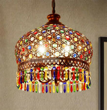 Colorful Crystal Retro LED Round Chandelier Ceiling Light Pendant Lamp Fixture