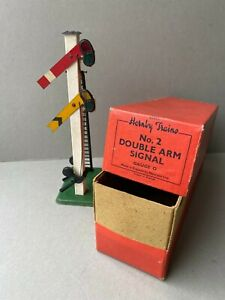 HORNBY - MECCANO O GAUGE No.2 DOUBLE ARM SIGNAL BOXED EARLY TINPLATE