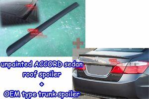 Unpainted Honda 13-17 ACCORD Sedan OEM type rear trunk spoiler + roof spoiler ◎