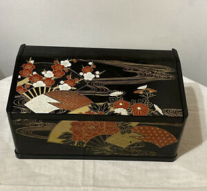 Vintage Asian Tissue Box Holder with Lidded Mirror Black with Gold & Red Design
