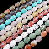 13Pcs 16x12x6mm Interesting Faceted Mixed Stone Oval loose bead x80045