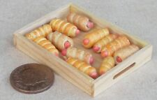 1:12 Scale 12 Large Sausage Rolls In A Wooden Tray Tumdee Dolls House Bakery