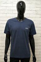 Maglia FILA Uomo Taglia L Maglietta Shirt Man Cotone Manica Corta Blu Regular