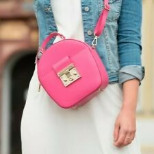 Handtasche Koffer echtes ital. Leder Pink runde Damen Tasche Ledertasche