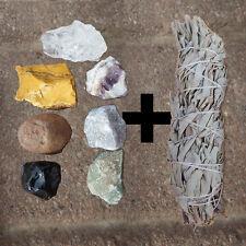 7 Chakra Stone set and 1 White Sage bundle Natural Crystal kit healing reiki