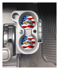 BALD EAGLE AMERICAN FLAG CUSTOM RUBBER CAR COASTER SET 2