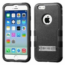For Apple iPhone 6/6s Black Tuff Hard Silicone Hybrid Rubber Case Cover w/stand
