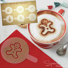 6 x natale cioccolata calda Stencil-Pan Di Zenzero Uomo/stelle/Albero Natale/Snowflake