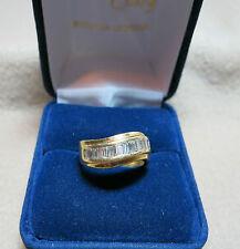 Bague or jaune 18k et diamants taille baguettes