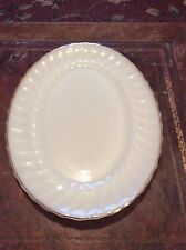 "Vintage Fire King Anchor Hocking Oval Platter 13"" Swirl Pattern w/ Gold Trim"