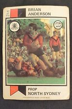 Scanlens 1974 Rugby League card #97 Brian Anderson North Sydney Bears