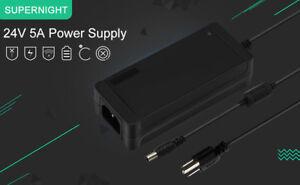 AC100V-240V to DC24V 5A Charger Adapter Power Supply for 10M 24V LED Strip Light