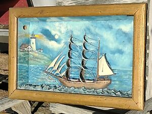 ANTIQUE  DIORAMA - SHADOW BOX, SAILING SHIP, CLIPPER,UNSIGNED W/LIGHTHOUSE