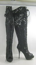 """new ladies Black 5.5""""High Heel Open Toe Lace Up Over Knee Sexy Boots Size 9"""